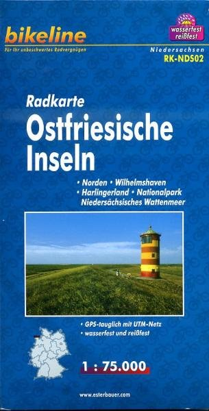 RK-NDS02  Ostfriesische Inseln 1:75.000 9783850003339  Esterbauer Bikeline Radkarten  Fietskaarten Schleswig-Holstein, Hamburg, Niedersachsen