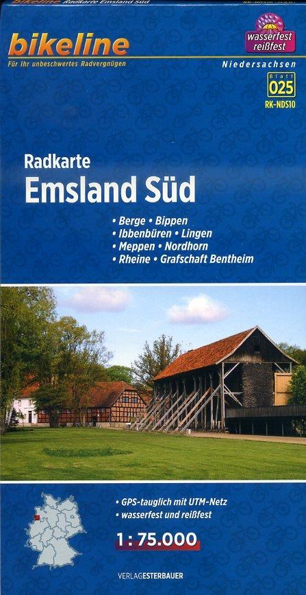 RK-NDS10  Emsland Süd 1:75.000 9783850003810  Esterbauer Bikeline Radkarten  Fietskaarten Schleswig-Holstein, Hamburg, Niedersachsen