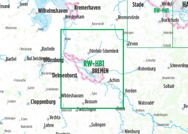 RW-HB1  Bremen  1:60.000 9783850003995  Esterbauer Bikeline Radkarten  Fietskaarten Schleswig-Holstein, Hamburg, Niedersachsen