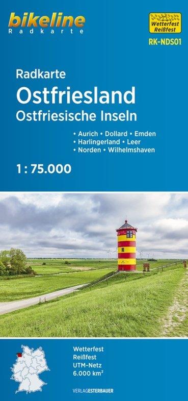 RK-NDS01 Ost-Friesland Radkarte 1:75.000 9783850007313  Esterbauer Bikeline Radkarten  Fietskaarten Ostfriesland