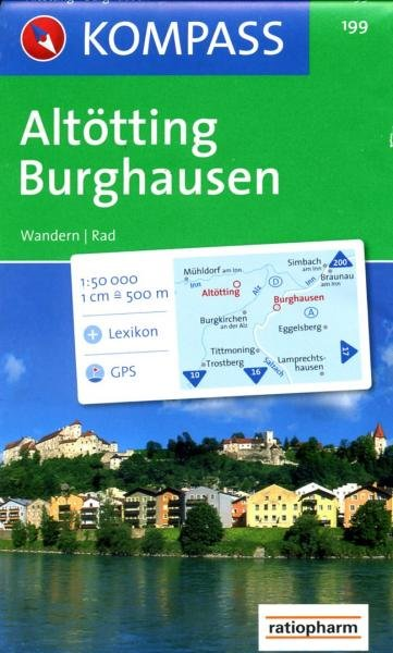 KP-199  Altötting, Burghausen | Kompass wandelkaart 9783850260381  Kompass Wandelkaarten   Wandelkaarten Beierse Alpen en München