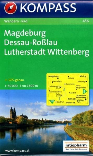 KP-456  Magdeburg, Dessau-Roßlau 1:50.000   Kompass wandelkaart 9783850261180  Kompass Wandelkaarten Kompass Duitsland  Wandelkaarten Brandenburg & Sachsen-Anhalt
