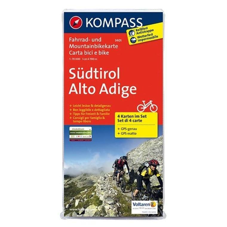 3401  Rad- und Mountainbikekarte Südtirol 9783850261456  Kompass fietskaarten Kompass Italië  Fietskaarten Zuid-Tirol, Dolomieten
