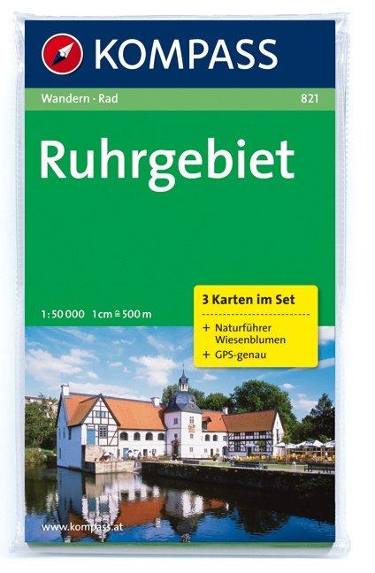 KP-821 Ruhrgebiet 1:50.000   Kompass 9783850262507  Kompass Wandelkaarten   Wandelkaarten Niederrhein, Ruhrgebied, Keulen