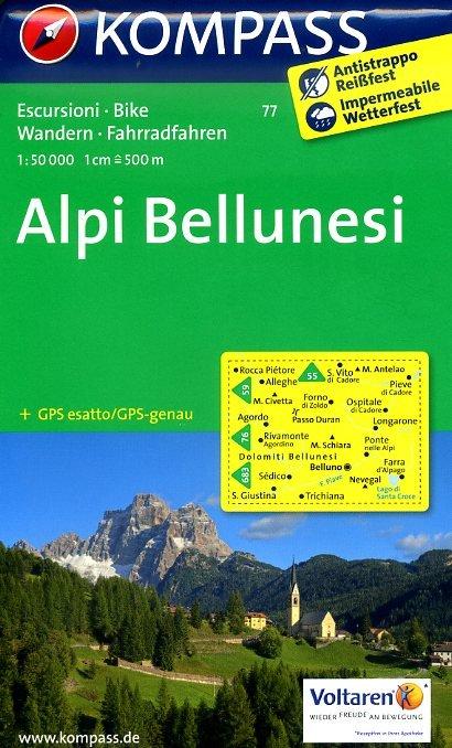 KP-77 Alpi Bellunesi 1:50.000 | Kompass wandelkaart 9783850264150  Kompass Wandelkaarten   Wandelkaarten Zuidtirol, Dolomieten, Friuli, Venetië, Emilia-Romagna