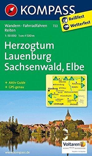 KP-722 Herzogtum Lauenburg, Sachsenwald, Elbe | Kompass wandelkaart * 9783850264358  Kompass Wandelkaarten Kompass Duitsland  Wandelkaarten Schleswig-Holstein, Lübeck