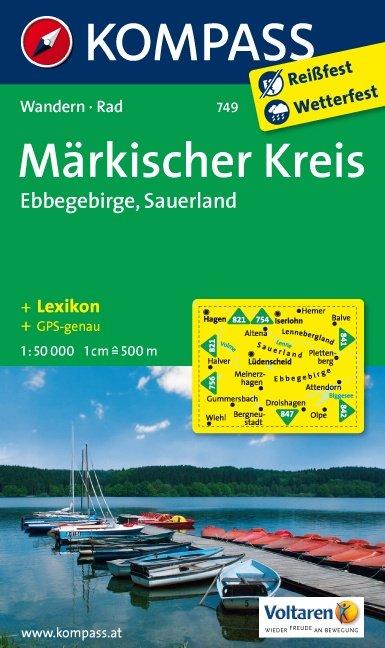 KP-749  Märkischer Kreis, Ebbegebirge, Homert 1:50.000 | Kompass wandelkaart 9783850264761  Kompass Wandelkaarten   Wandelkaarten Sauerland, Münsterland, Teutoburger Wald