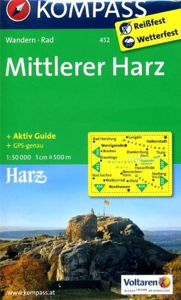 KP-452  Harz (Midden) 1:50.000 | Kompass wandelkaart 9783850264884  Kompass Wandelkaarten   Wandelkaarten Harz