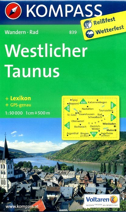 KP-839 Westlicher Taunus, Rheingau 1:50.000 | Kompass 9783850264891  Kompass Wandelkaarten   Wandelkaarten Hessen