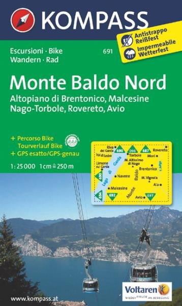 KP-691  Monte Baldo Nord 1:25.000 9783850265379  Kompass Wandelkaarten   Wandelkaarten Zuidtirol, Dolomieten, Friuli, Venetië, Emilia-Romagna