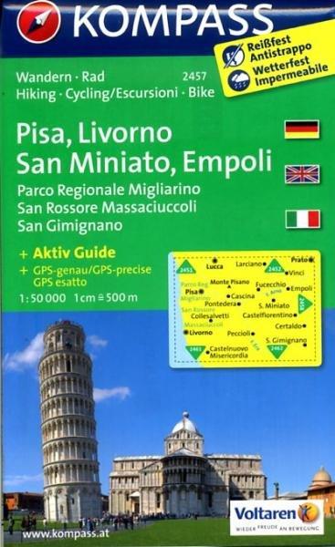 KP-2457  Pisa, Livorno, San Miniato, Empoli 1:50.000 | Kompass wandelkaart 9783850266017  Kompass Wandelkaarten   Wandelkaarten Toscane, Umbrië, de Marken