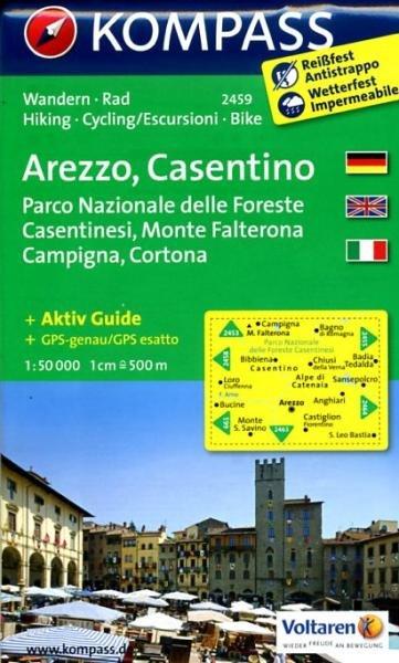KP-2459  Arezzo - Casentino 1:50.000 | Kompass wandelkaart 9783850266031  Kompass Wandelkaarten   Wandelkaarten Toscane, Umbrië, de Marken