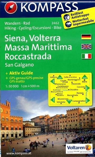KP-2462  Siena, Volterra, San Galgano 1:50.000 | Kompass wandelkaart 9783850266055  Kompass Wandelkaarten   Wandelkaarten Toscane, Umbrië, de Marken