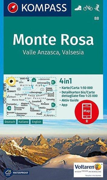 KP-88 Monte Rosa 1:50.000 | Kompass 9783850266369  Kompass Wandelkaarten   Wandelkaarten Ligurië, Piemonte, Lombardije