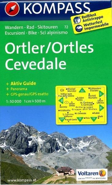 KP-72 Ortler 1:50.000   Kompass wandelkaart 9783850267113  Kompass Wandelkaarten Kompass Italië  Wandelkaarten Zuid-Tirol, Dolomieten