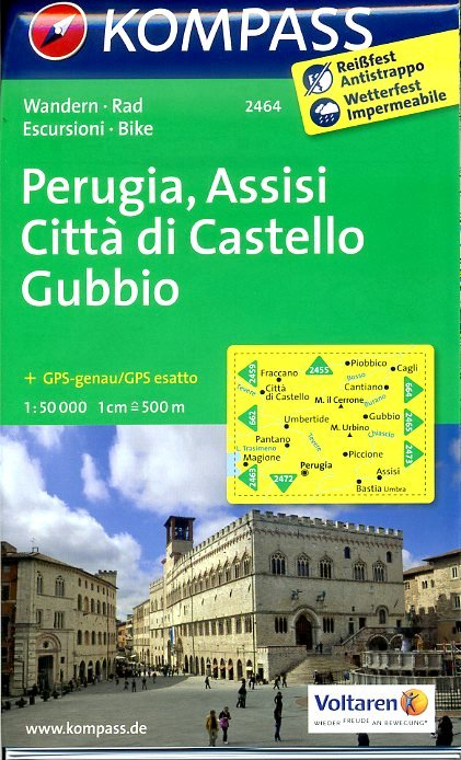 KP-2464  Perugia - Assisi - Gubbio 1:50.000 | Kompass wandelkaart 9783850268431  Kompass Wandelkaarten   Wandelkaarten Toscane, Umbrië, de Marken