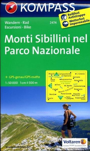 KP-2474 Parco Nazionale dei Monti Sibillini 1:50.000 | Kompass wandelkaart 9783850268479  Kompass Wandelkaarten Kompass Italië  Wandelkaarten De Marken, Umbrië