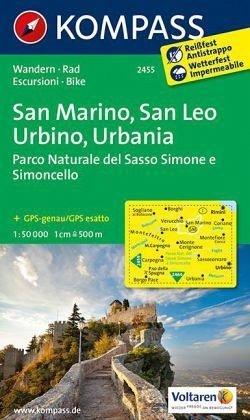 KP-2455  San Marino, San Leo, Urbino 1:50.000 | Kompass wandelkaart 9783850268608  Kompass Wandelkaarten Kompass Italië  Wandelkaarten De Marken