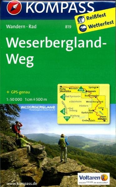 KP-819 Weserbergland-Weg | Kompass 9783850268615  Kompass Wandelkaarten   Wandelkaarten Schleswig-Holstein, Hamburg, Niedersachsen