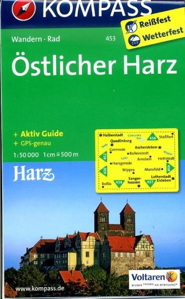 KP-453  Östlicher Harz | Kompass wandelkaart 9783850268622  Kompass Wandelkaarten   Wandelkaarten Harz