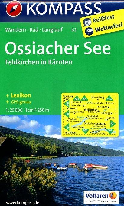KP-62  Ossiacher See, Feldkirchen in Kärnten   Kompass wandelkaart 9783850268783  Kompass Wandelkaarten Kompass Oostenrijk  Wandelkaarten Salzburg, Karinthië, Tauern, Stiermarken