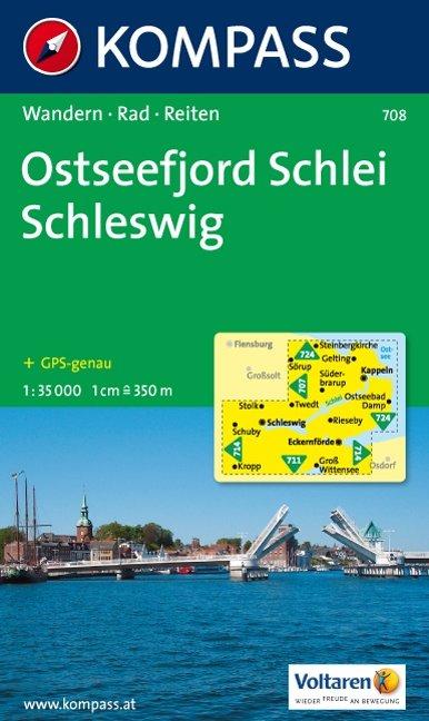 KP-708 Ostseefjor, Schlei, Schleswig 1:35.000   Kompass wandelkaart 9783850268981  Kompass Wandelkaarten   Wandelkaarten Schleswig-Holstein, Hamburg, Niedersachsen