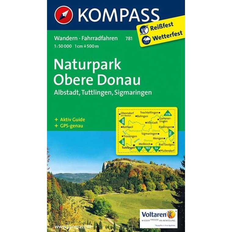 KP-781 NP Obere Donau   Kompass wandelkaart 9783850269025  Kompass Wandelkaarten   Wandelkaarten Baden-Württemberg, Zwarte Woud