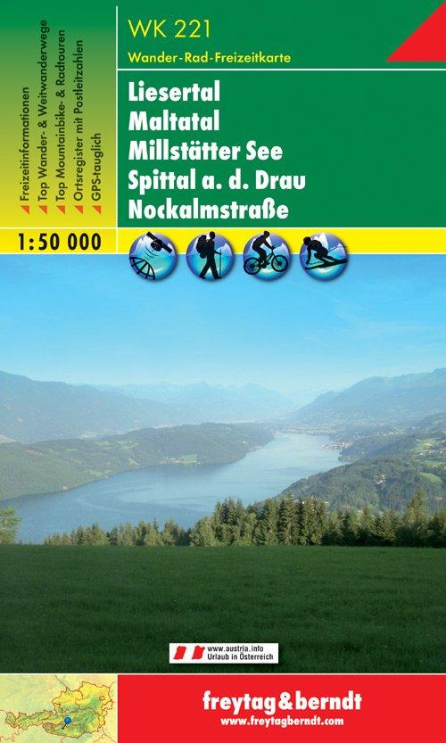 WK-221  Millstätter See,Spittal,Nockalmstrasse 9783850847216  Freytag & Berndt WK 1:50.000  Wandelkaarten Salzburg, Karinthië, Tauern, Stiermarken