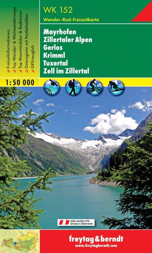 WK-152  Mayrhofen,Zillertaler A.,Gerlos,Krimml 9783850847520  Freytag & Berndt WK 1:50.000  Wandelkaarten Tirol & Vorarlberg