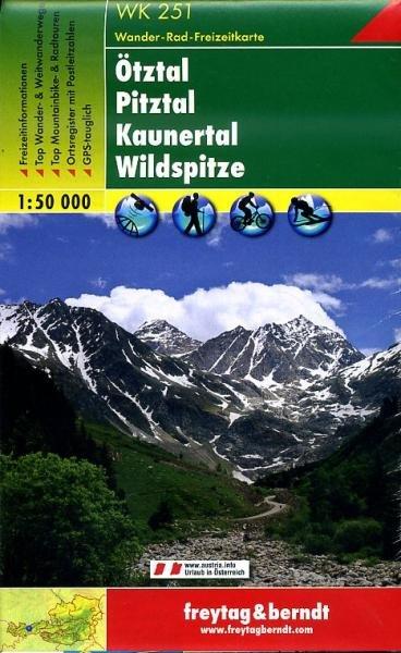 WK-251  Ötztal,Pitztal,Kaunertal 9783850847544  Freytag & Berndt WK 1:50.000  Wandelkaarten Tirol & Vorarlberg