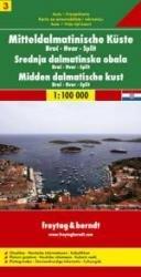 Dalmatinische Küste 3: Brac/ Havr/ Split   autokaart, wegenkaart 1:100.000 9783850849982  Freytag & Berndt   Landkaarten en wegenkaarten Kroatië