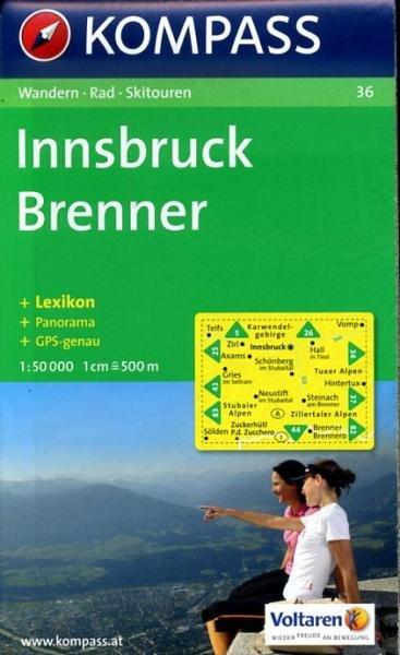 KP-36  Innsbruck, Brenner   Kompass wandelkaart 9783854910404  Kompass Wandelkaarten   Wandelkaarten Tirol & Vorarlberg
