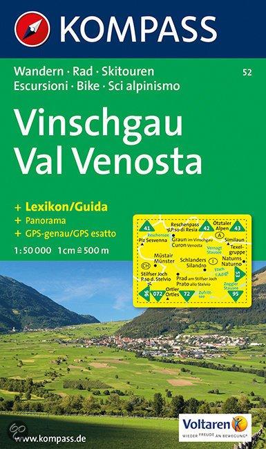 KP-52 Vinschgau/Val Venosta 1:50.000 | Kompass wandelkaart 9783854910589  Kompass Wandelkaarten   Wandelkaarten Zuidtirol, Dolomieten, Friuli, Venetië, Emilia-Romagna