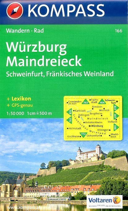 KP-166  Würzburg, Maindreieck, Schweinfurt | Kompass wandelkaart * 9783854911814  Kompass Wandelkaarten Kompass Duitsland  Wandelkaarten Franken, Nürnberg, Altmühltal