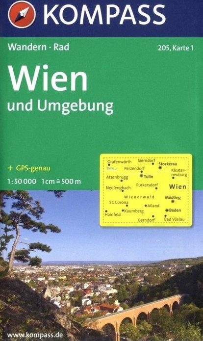 KP-205  Wenen en omgeving   Kompass wandelkaart 9783854916666  Kompass Wandelkaarten   Wandelkaarten Wenen, Noord- en Oost-Oostenrijk