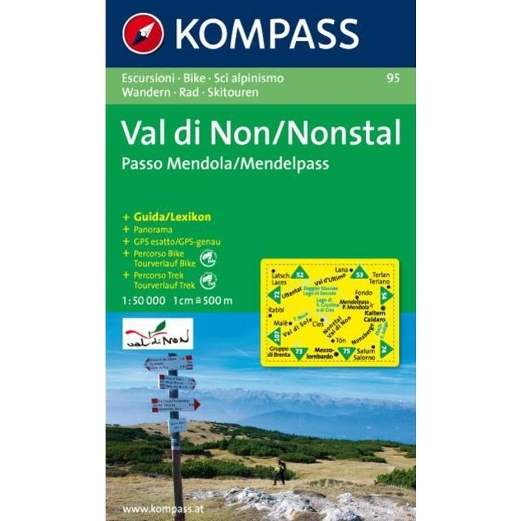 KP-95 Valle di Non / Nonstal 1:50.000 | Kompass * 9783854916918  Kompass Wandelkaarten   Wandelkaarten Zuidtirol, Dolomieten, Friuli, Venetië, Emilia-Romagna