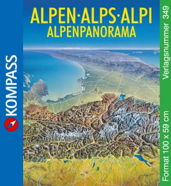 349  Alpen Panorama 9783854917755  Kompass Wandelkaarten Panoramakarten  Wandkaarten Zwitserland en Oostenrijk (en Alpen als geheel)