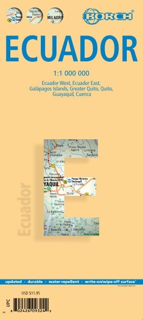 Ecuador 1:1.000.000   geplastificeerde overzichtskaart / wegenkaart 9783866093249  Berndtson / Borch   Landkaarten en wegenkaarten Ecuador, Galapagos