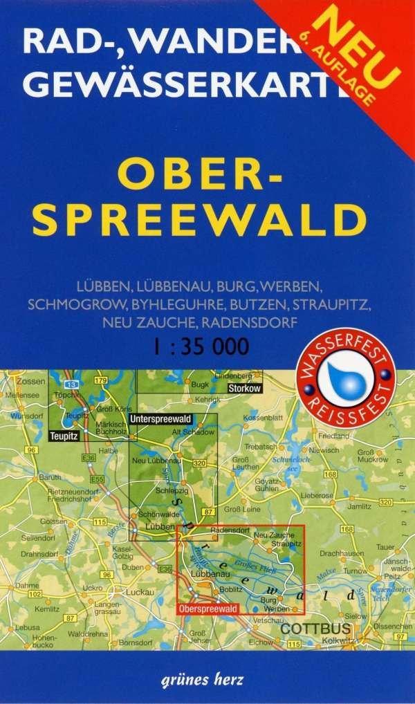 Ober Spreewald Wander- u. Gewässerkarte 9783866361089  Grünes Herz   Wandelkaarten Brandenburg & Sachsen-Anhalt