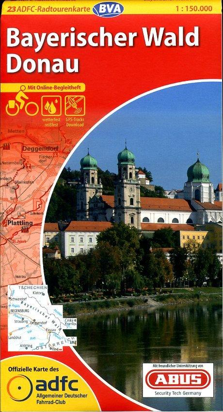 ADFC-23 Bayerischer Wald/Donau   fietskaart 1:150.000 9783870736224  ADFC / BVA Radtourenkarten 1:150.000  Fietskaarten Beierse Woud, Regensburg