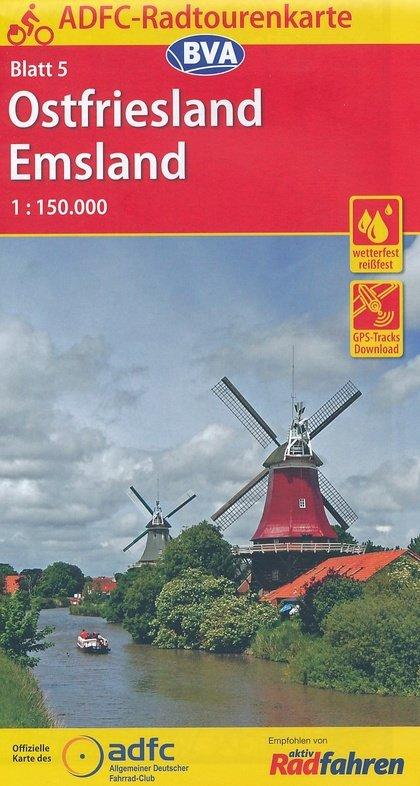 ADFC-05 Ostfriesland/Emsland | fietskaart 1:150.000 9783870737269  ADFC / BVA Radtourenkarten 1:150.000  Fietskaarten Ostfriesland