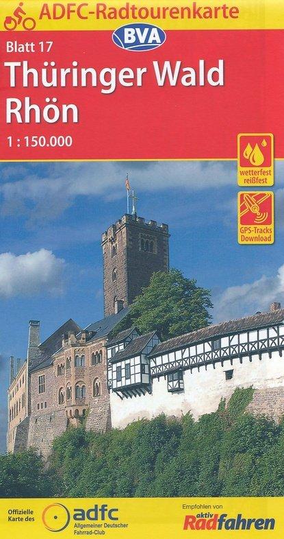 ADFC-17 Thüringer Wald/Rhön   fietskaart 1:150.000 9783870737276  ADFC / BVA Radtourenkarten 1:150.000  Fietskaarten Sachsen, Thüringen, Dresden