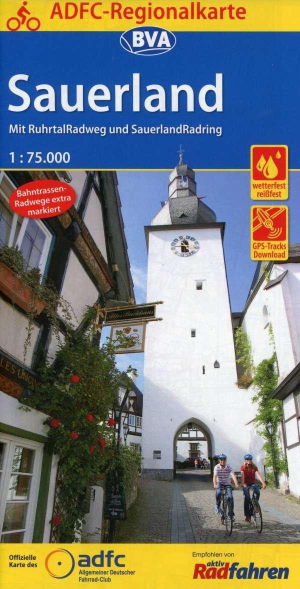 Sauerland 1:75.000 9783870737849  BVA ADFC Regionalkarte  Fietskaarten Sauerland, Münsterland, Teutoburger Wald