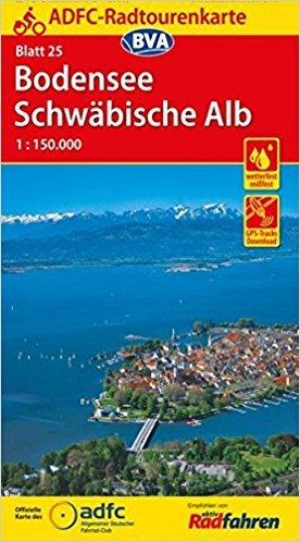 ADFC-25 Bodensee/Schwäbische Alb | fietskaart 1:150.000 9783870738136  ADFC / BVA Radtourenkarten 1:150.000  Fietskaarten Bodenmeer, Schwäbische Alb