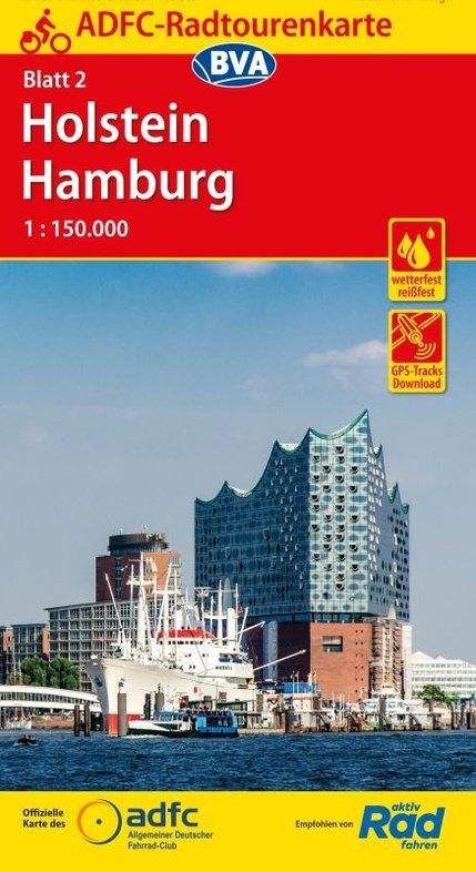 ADFC-02 Holstein/Hamburg | fietskaart 1:150.000 9783870738242  ADFC / BVA Radtourenkarten 1:150.000  Fietskaarten Sleeswijk-Holstein