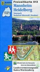 F513 Mannheim - Heidelberg 9783890216065  LVA BW Baden-W. 1:50.000  Wandelkaarten Baden-Württemberg, Zwarte Woud