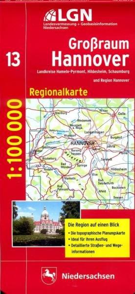 CR-13 Großraum Hannover 9783894355975  LVA Niedersachsen Regionalkarten 1:100.000  Landkaarten en wegenkaarten Hannover, Weserbergland