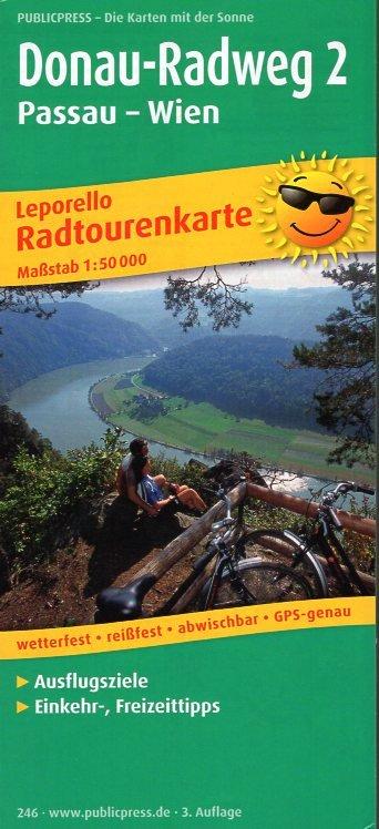 Donauradweg Passau - Wien 1:50.000 9783899202465  Publicpress Fietskaarten - mit der Sonne  Fietskaarten Oostenrijk