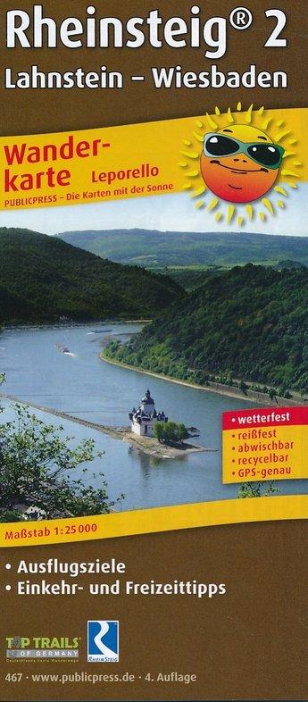 Wanderkarte Rheinsteig 2, Lahnstein - Wiesbaden 1:25.000 9783899204674  Publicpress Wandelkaarten - mit der Sonne  Wandelkaarten, Lopen naar Rome, Meerdaagse wandelroutes Eifel, Moezel, Rheinland-Pfalz