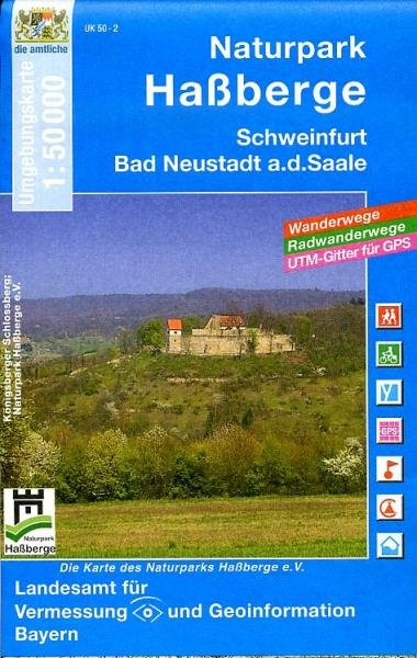 UK50-02  Naturpark Hassberge 9783899332896  LVA Bayern UmgebungsKarte 1:50.000  Wandelkaarten Franken, Nürnberg, Altmühltal